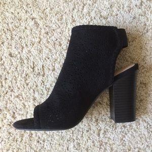 Black, suede-like booties